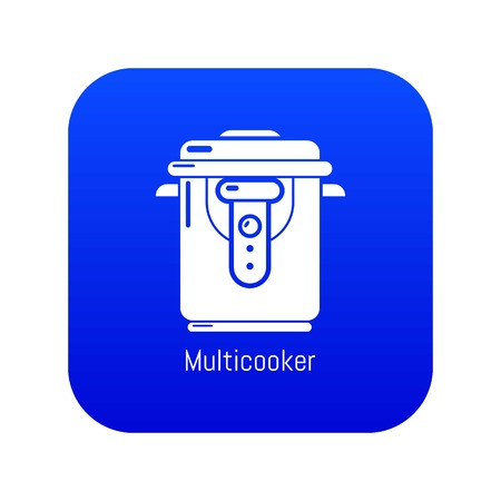 Multi cooker icon blue vector isolated on white background