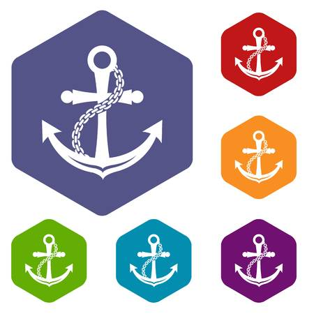 Anchor icons vector hexahedron