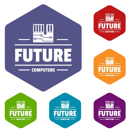 Future computers icons vector hexahedron