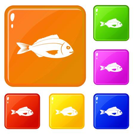 Fish icons set collection vector 6 color isolated on white background