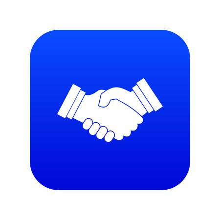 Business handshake icon digital blue for any design isolated on white vector illustration