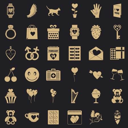 Love icons set, simple style