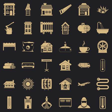 Heating icons set, simple style