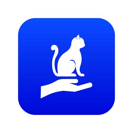 Hand holding a cat icon digital blue for any design isolated on white vector illustration Illustration