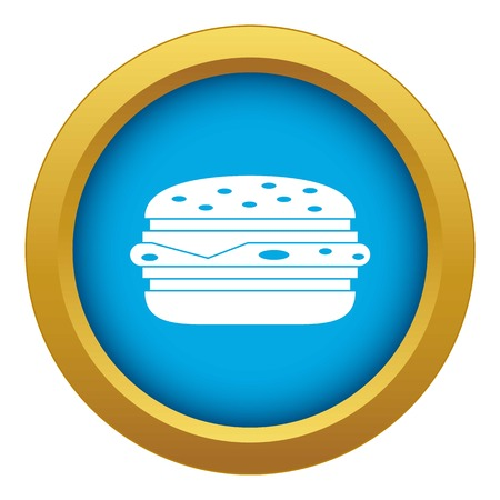 Burger icon blue vector isolated on white background for any design Illustration