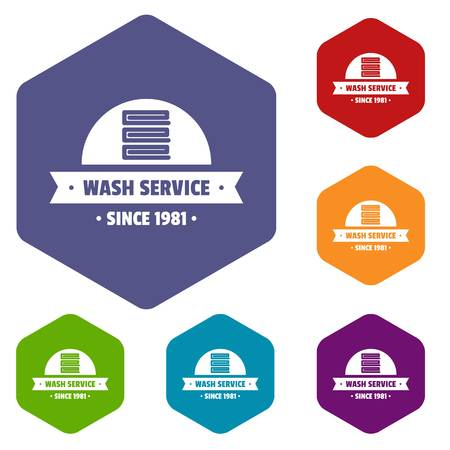Modern wash service icons vector hexahedron Illustration
