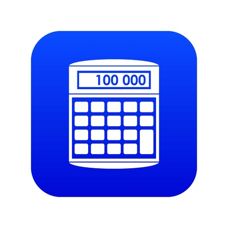 An electronic calculator icon digital blue for any design isolated on white vector illustration