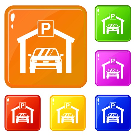 Car parking icons set collection vector 6 color isolated on white background