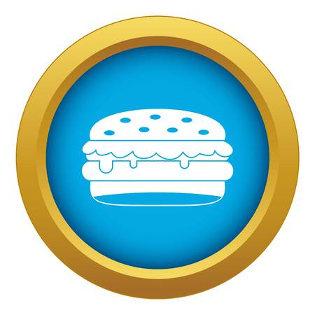 Burger icon blue vector isolated on white background for any design