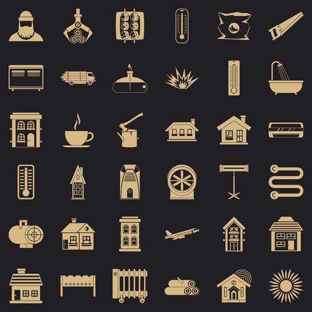 Sun icons set, simple style