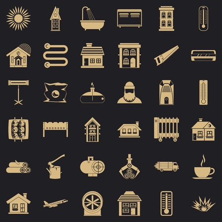 Warm icons set, simple style