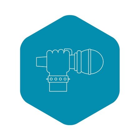 Hand microphone icon, outline style