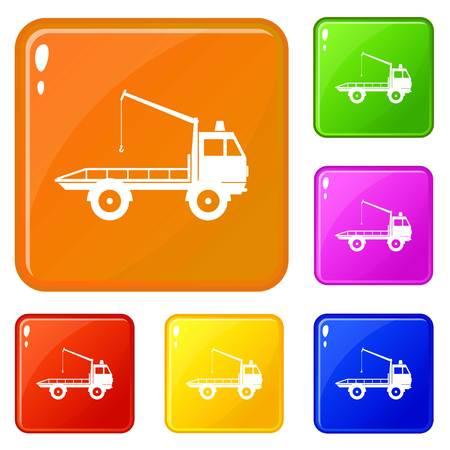 Car towing truck icons set collection vector 6 color isolated on white background