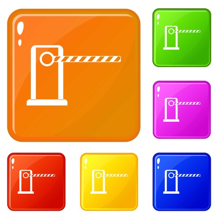 Parking entrance icons set vector color