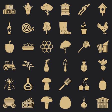 Wagon icons set, simple style