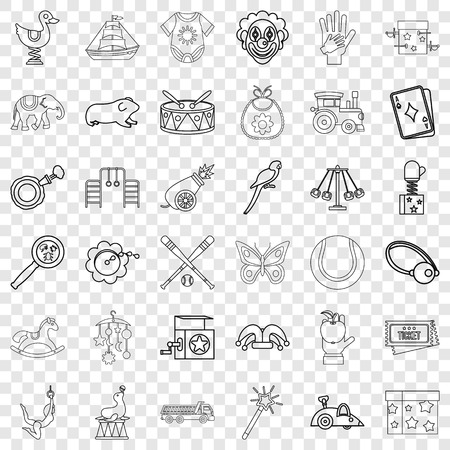 Clown icons set, outline style