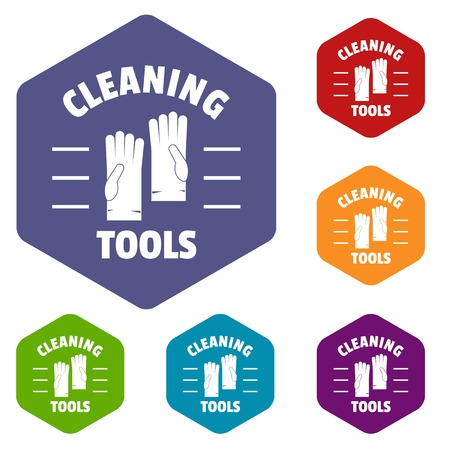 Cleaning tools icons vector hexahedron