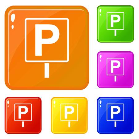 Parking sign icons set collection vector 6 color isolated on white background