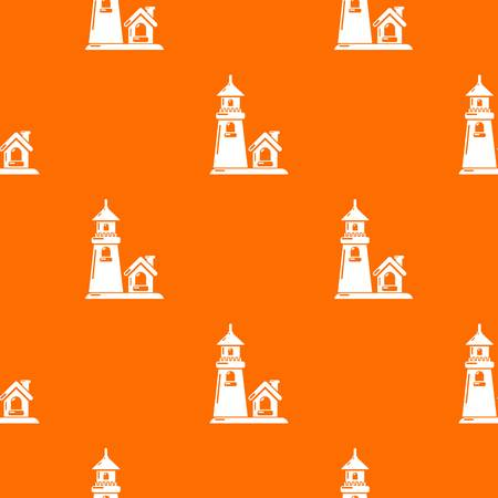 Tower and house pattern vector orange Illustration