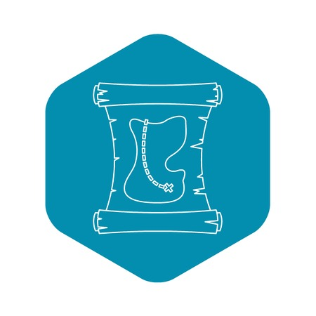 Treasure map icon, outline style