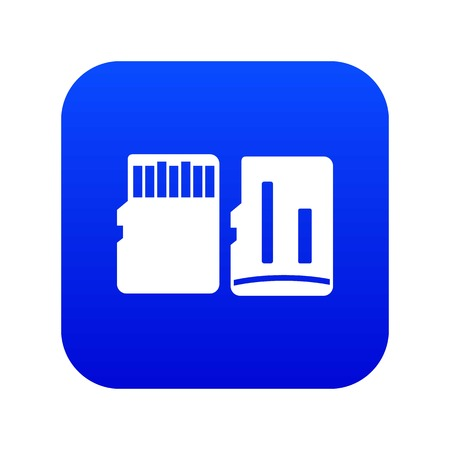 Both sides of SD memory card icon digital blue