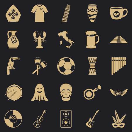 Big celebration icons set, simple style