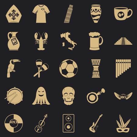 Big celebration icons set, simple style