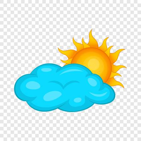 Sun behind clouds icon. Cartoon illustration of sun behind clouds vector icon for web design