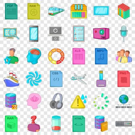 Computer file icons set, cartoon style