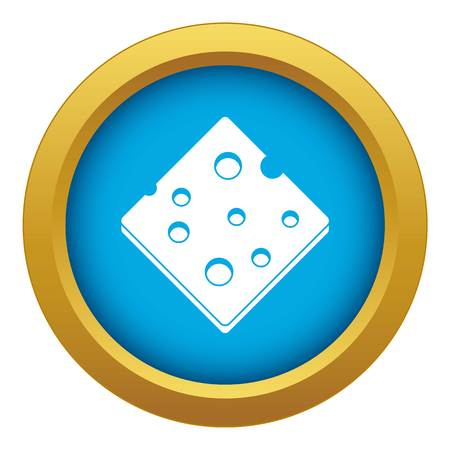 Cheese fresh block icon blue vector isolated