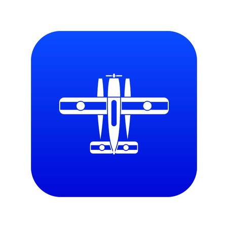 Ski equipped airplane icon digital blue for any design isolated on white vector illustration