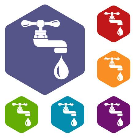 Water tap icons vector hexahedron