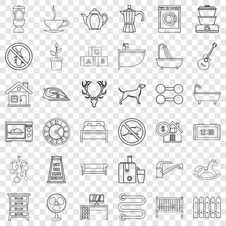 Grater icons set, outline style Ilustração