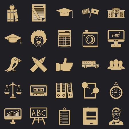 Undergrad icons set, simple style