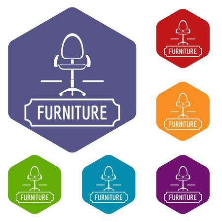 Chair home icons vector hexahedron