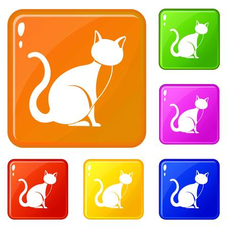 Black cat icons set collection vector 6 color isolated on white background