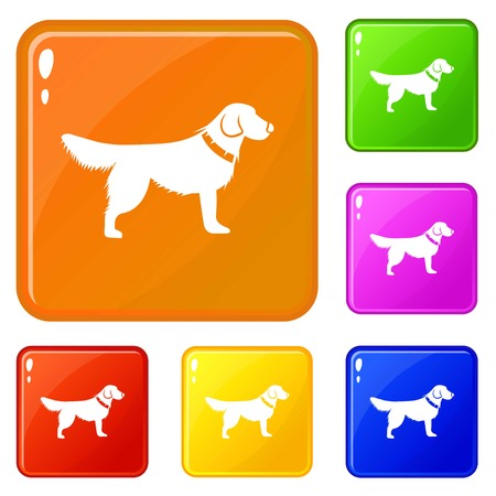 Dog icons set vector color Illustration