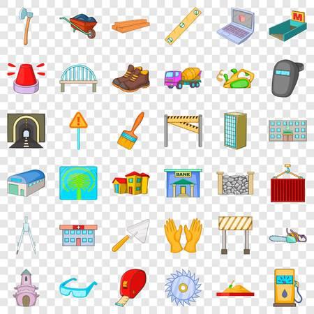 Conjunto de iconos de hormigonera. Estilo de dibujos animados de 36 iconos de vector de hormigonera para web para cualquier diseño