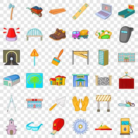 Ensemble d'icônes de malaxeur à béton. Style de dessin animé de 36 icônes vectorielles de bétonnière pour le web pour toute conception