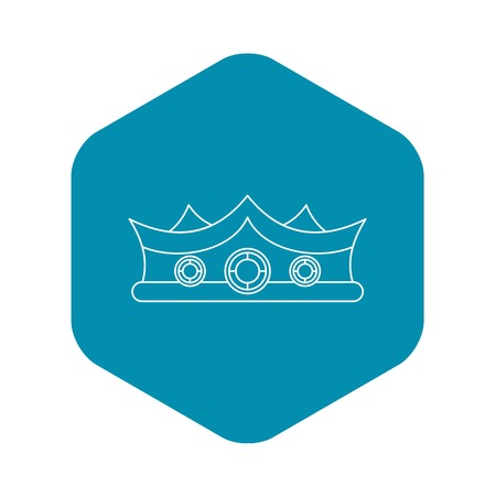 King crown icon, outline style