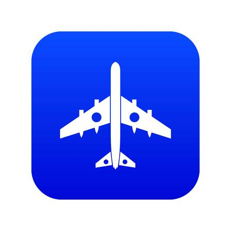 Military fighter plane icon digital blue