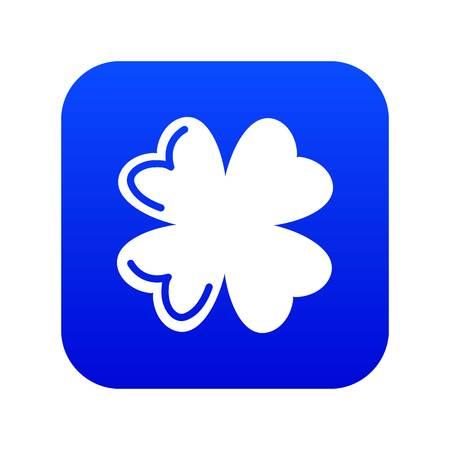 Quatrefoil leaf icon blue vector
