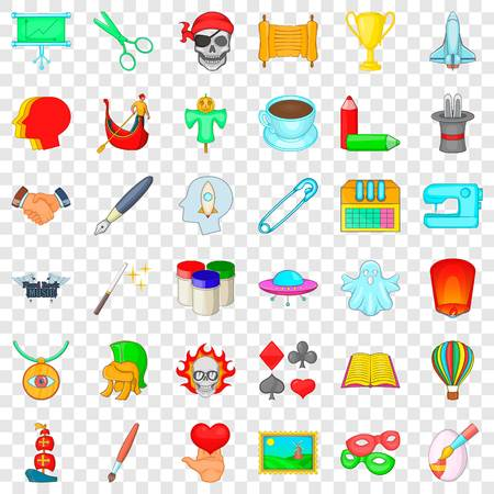 Art icons set, cartoon style Illustration