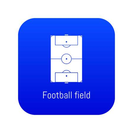 Football field icon blue vector isolated on white background