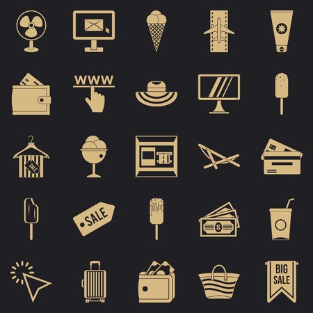 Summer shopping icons set, simple style