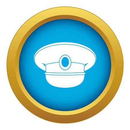 White nautical hat icon blue vector isolated on white background for any design Ilustração