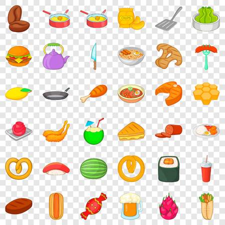 Breakfast icons set. Cartoon style of 36 breakfast vector icons for web for any design