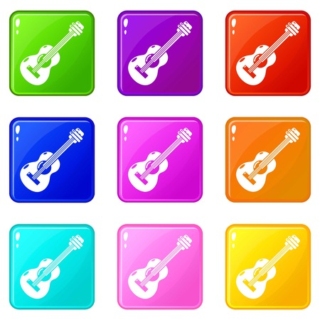 Guitar icons set 9 color collection isolated on white for any design Illustration