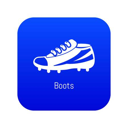 Football boots icon blue vector isolated on white background