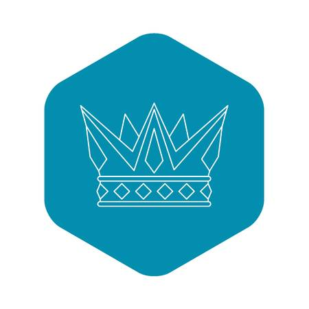 Cog crown icon, outline style Illustration